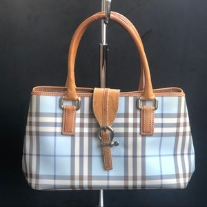 BURBERRY Check nova canvas blue handbag